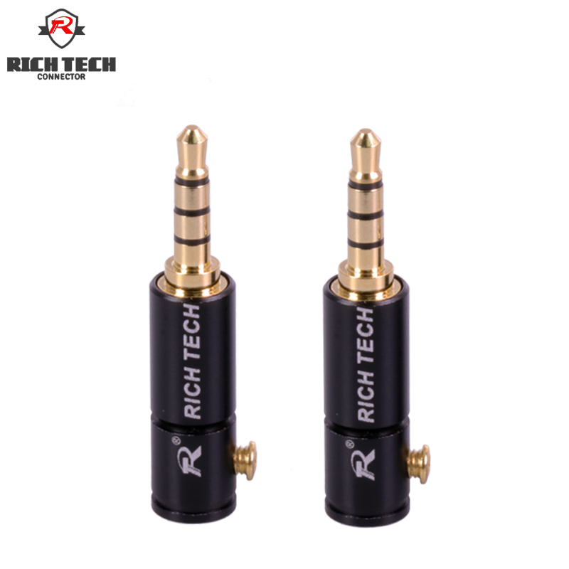 2pcs Gold-plated Jack 3.5mm Audio Plug 4 Pole Earphone Connector with Aluminum Shell&Screw Locks Welding Free 2pcs Gold-plated Jack 3.5mm Audio Plug 4 Pole Earphone Connector with Aluminum Shell&Screw Locks Welding Free
