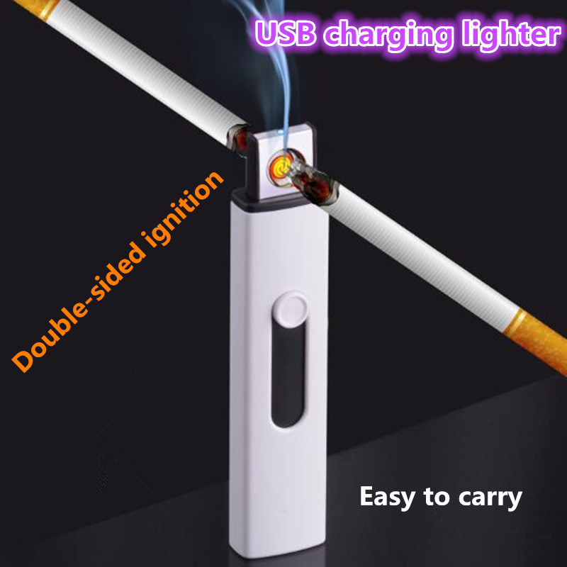 New small Rechargeable Double-sided cigarette lighters USB Windproof flameless electric cigar Electronic charging lighter No gas