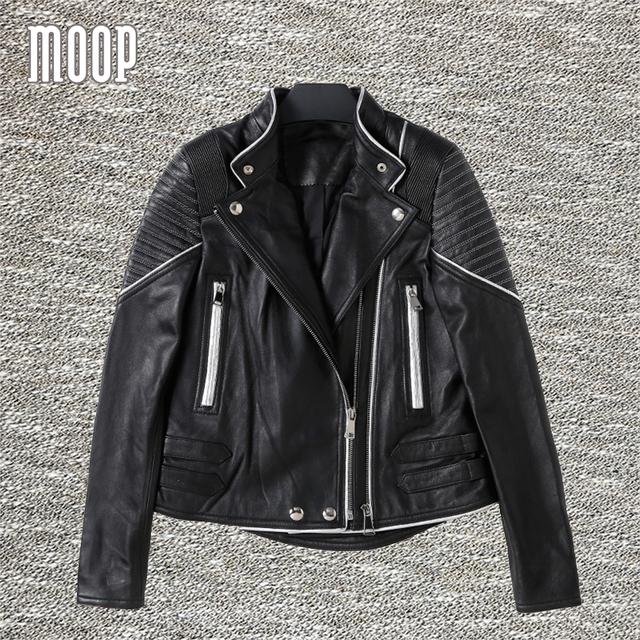 Jaquetas de couro genuíno preto 100% da pele de carneiro revestimento da motocicleta jaqueta de couro casacos veste en cuir femme LT1124 frete grátis