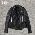 Negro chaquetas de cuero genuino 100% de piel de oveja chaqueta de la motocicleta abrigos veste en cuir femme LT1124 jaqueta de couro envío gratis
