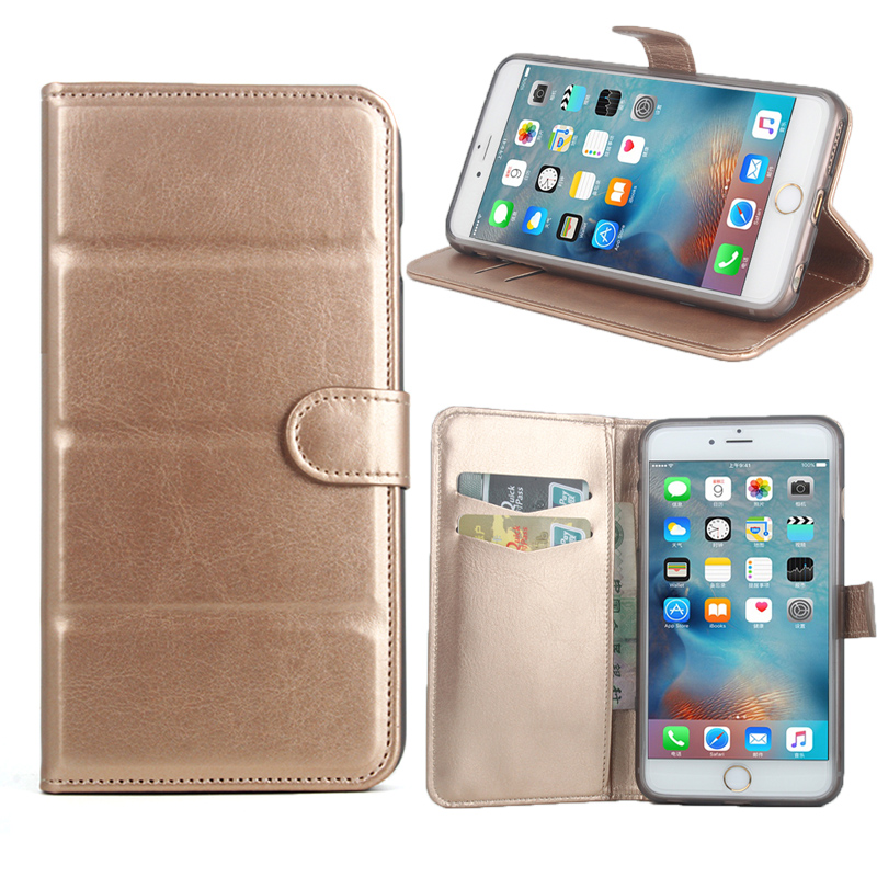 For iphone6 Puls 6s Puls Phone Case Folio Flip Pure Color Lichee Pattern PU Leather Wallet Case Cover Cash/Card Slots sanheng