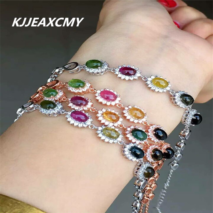 KJJEAXCMY Fine jewelry hand ornaments, 925 Sterling Silver tourmaline crystal bracelet, female Natural Korean ornament shiying c04349 fashion elephant multilayer tourmaline natural crystal bracelet blue