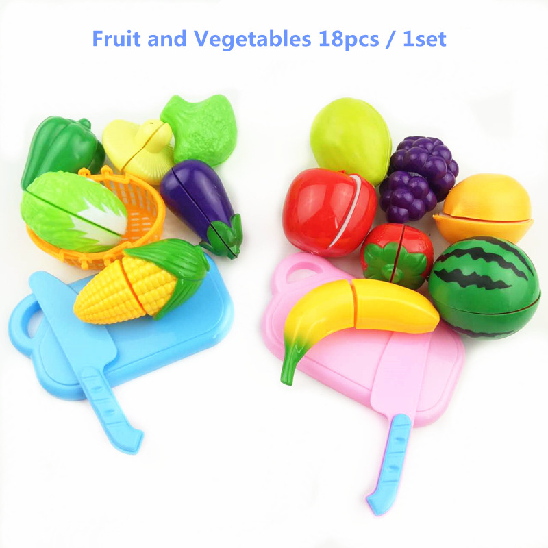 Plastic Fruit Vegetables Cutting Toy Early Development and Education Toy for Baby - Color Random