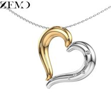 ZEMO Fashion Gold&Silver Heart Clavicle Necklace for Women Geometric Chain Pendant with Zircon Long Neck Jewelry