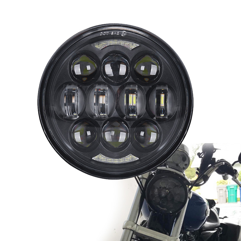 Motorcycle Accessories 5.75 Inch 80W H/L Beam Front Driving Headlamp For Harley Dyna Street Bob DRL Angel Eye  LED Headlight