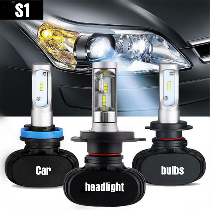 2PCS S1 H4 led H7 H11 Led H1 Auto Car Headlight 50W 8000LM 6500K 9005 HB3