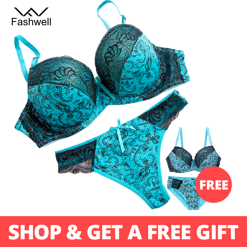 Fashwell Sexy Panty Embroidery Floral   Bra     Set   Women Health Plus Size Lace Underwire Intimates send with Women   Bra     Brief     Sets