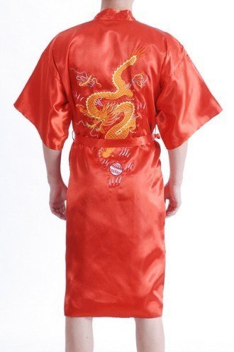 Free Shipping New Fashion Red Men's Robe Silk Polyester Embroidery Dragon Kimono Gown Wholesale And Retail M L XL XXL XXXL J0521