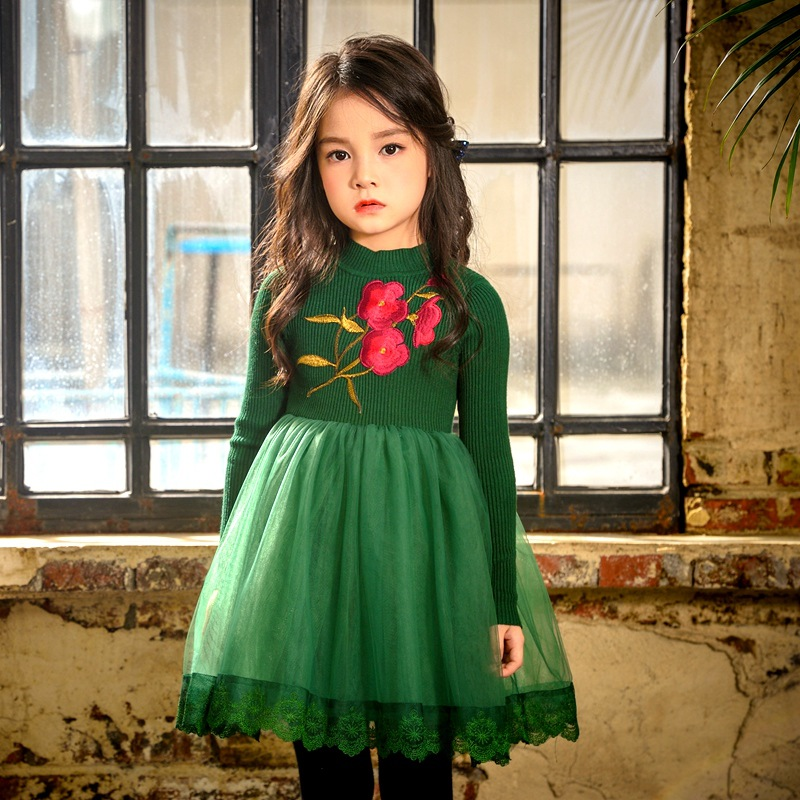 Girls new spring/fall/winter children lace tutu flowers dresses kids party Long Sleeve clothes  5AP410DS-65  Eleven Story 2017 cute children girls cotton dress long sleeve print tutu party dresses toddler kids clothes outfits 1 5y