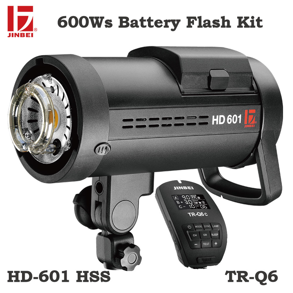 JINBEI HD-601 600Ws HSS Flash Ao Ar Livre DC Alimentado Por Bateria Luz Estroboscópica Foto Iluminação Bowens Monte com TR-Q6 Transmissor