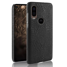 Crocodile skin texture PU Leather Hard Phone case for Motorola One Vision