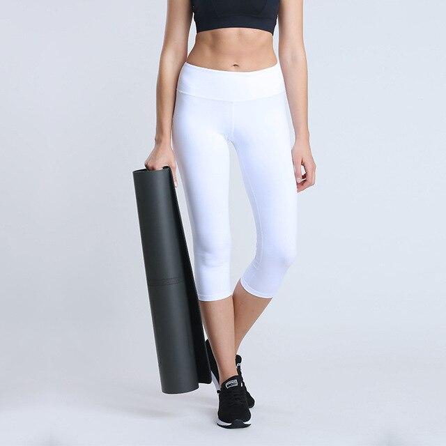 0f68f7275d389f NWT 2018 woman capris 4 way stretch fabric tummy control pant sexy gym  power flex yoga