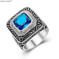 2017 Vintage Charm Jewelry Blue Crystal Stone 925 Sterling Silver Ring For Man Evening Party Accessories