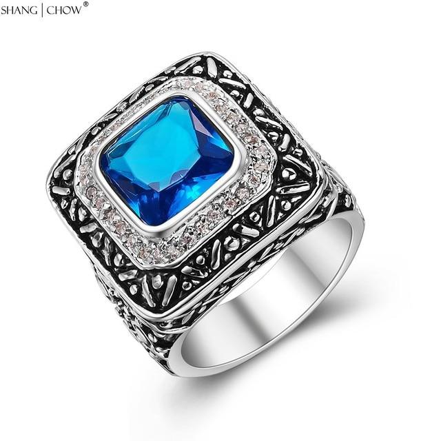 Fabuleux 2018 Vintage Charme Bijoux Bleu Cristal Pierre 925 Bague En Argent &XP_74