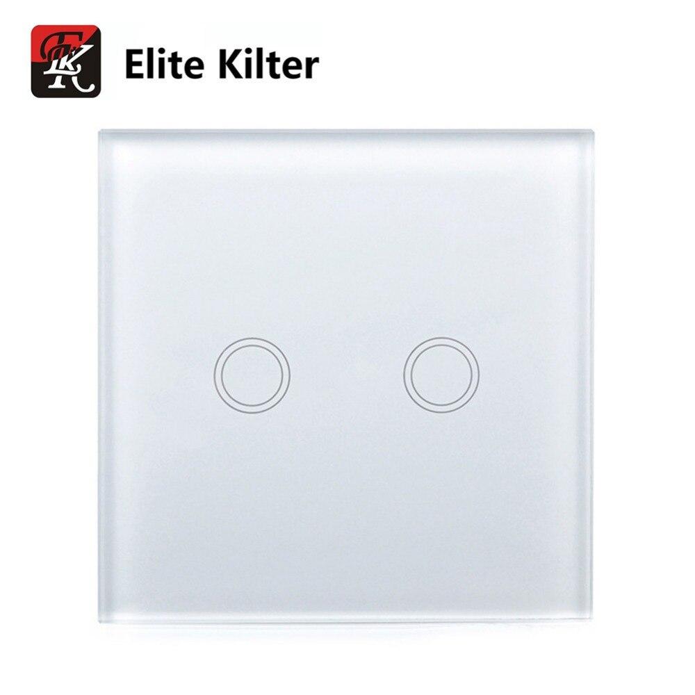 Elite Kilter Touch Switch 2 Gang EU/UK Standard Crystal Glass Switch Panel Smart Touch Wall Light Switch sport elite se 2450