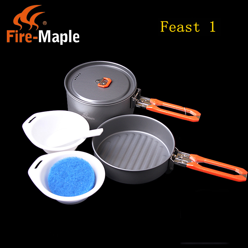 Fire-maple 1-2 Person Cooking Pot Camping Cookware Outdoor Pots Sets Camping Hiking Cookware Picnic Sets Feast1 fire maple pots set outdoor camping foldable cooking cookware aluminum alloy for 2 3 persons fmc 208