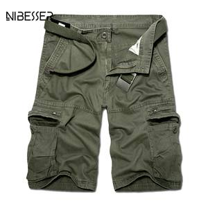 NIBESSER Casual Men Cargo Shorts Cotton Short Pants Male
