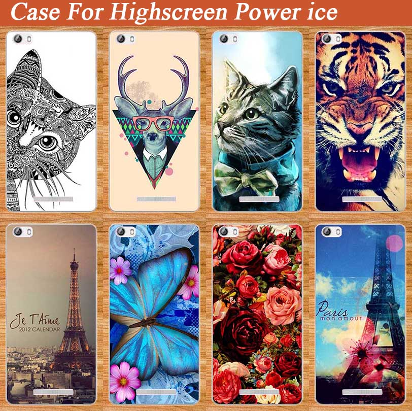 Case For Highscreen Power Ice case Hard PC DIY painting animale Flowers Eiffel Tower case for highscreen power ice Phone Cover