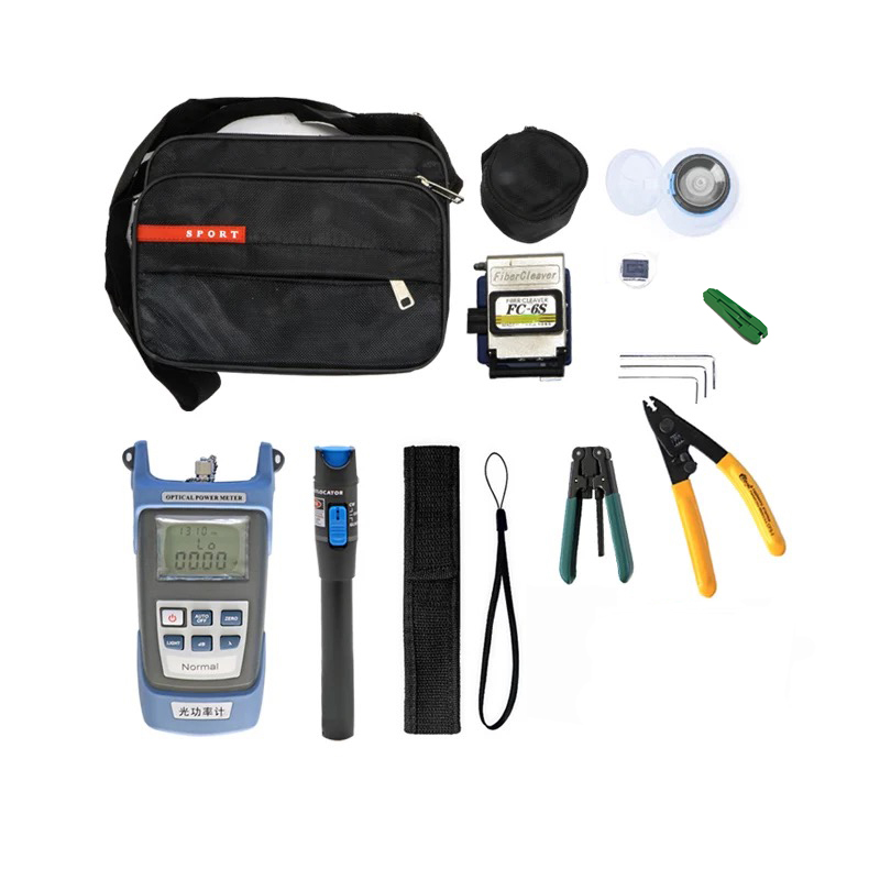 12pcs/set Fiber Optic Tool Kit with FC-6S Cleaver and Optical Power Meter 5km Visual Fault Locator Wire stripper ftth tool