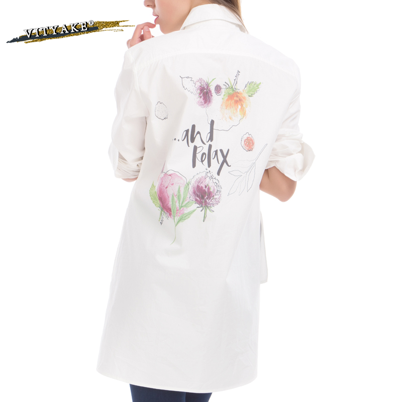 2017 spring style blouse women white back paint floral for White floral shirt womens