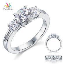Павлин звезда три камня Твердые стерлингового серебра 925 пробы обручальное кольцо 1,25 карат свадебные ювелирные изделия CFR8065