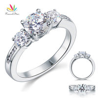 3 Stone Created Diamond Solid Sterling 925 Silver Wedding Christmas Present Gift Ring CFR8065