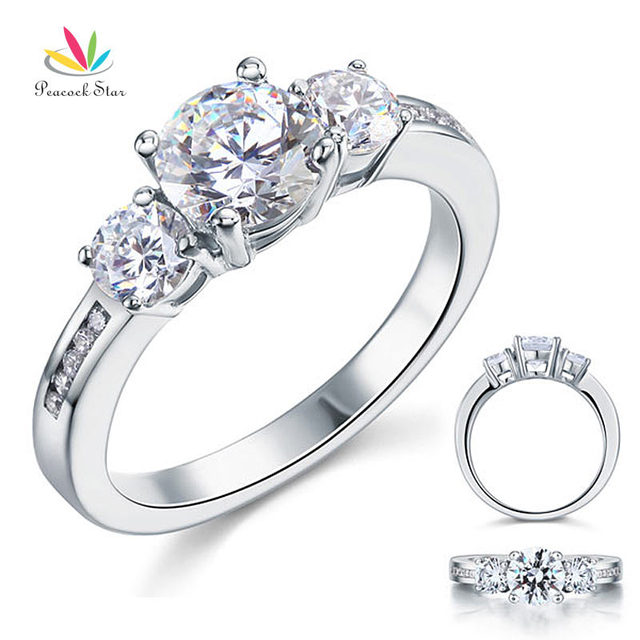 Peacock Star 3-Stone 1.25 Ct Round Cut Created Diamond Solid Sterling 925 Silver Bridal Wedding Engagement Ring Jewelry CFR8065