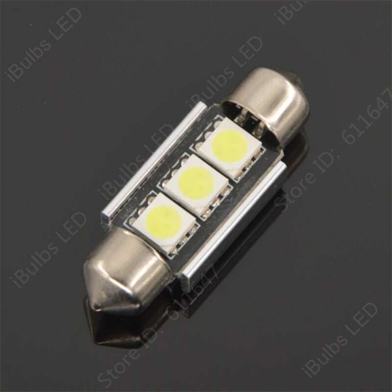 2Pcs Festoon Auto 36mm 39mm 41mm C5W 3 LED 5050 SMD Canbus Error Free Car Interior Lamp No Electrode Boot Light DC12V