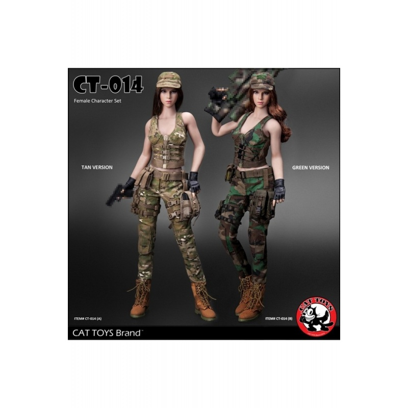 1//6 CAT TOYS CT014 Female Combat Suit Clothes Set W//Head Model Fit 12/'/' Body
