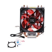 2 Heatpipe 95W CPU Cooler 3 Pin 90mm LED Fan Aluminum Heatsink For I3 I5 AM2