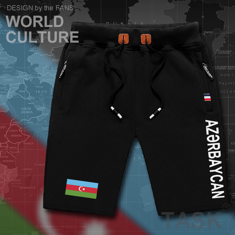 Azerbaijan Azerbaijani Mens Shorts Beach Man Men's Board Shorts Flag Workout Zipper Pocket Sweat Bodybuilding 2017 Cotton  AZE