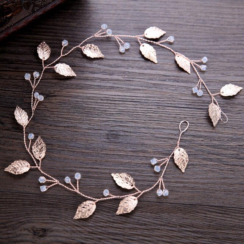 Женский свадебный ободок ручной работы, лист цвета розовое золото с кристаллами, свадебный аксессуар для волос