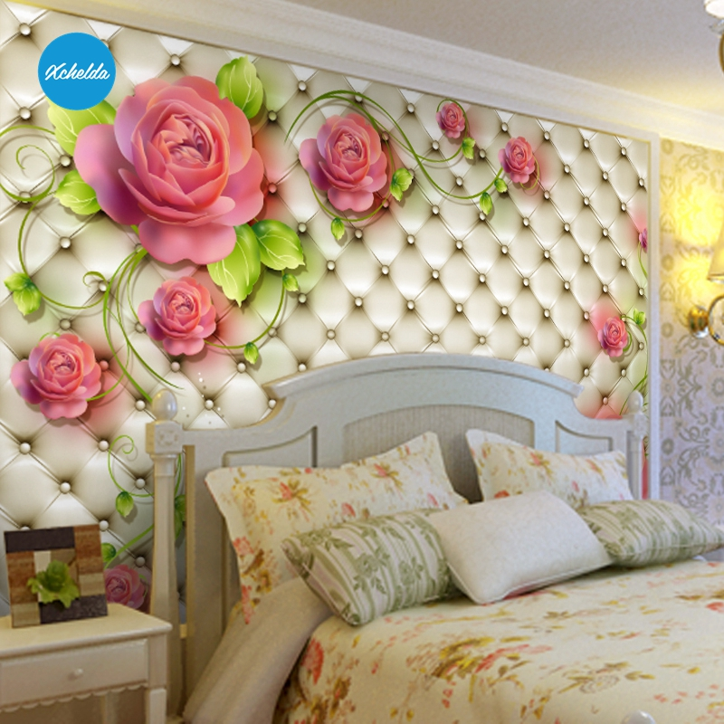 XCHELDA 3D Mural Wallpapers Custom Painting Floral Design Background Bedroom Living Room Wall Murals Papel De Parede custom 3d wall murals wallpaper luxury silk diamond home decoration wall art mural painting living room bedroom papel de parede