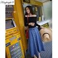 Rey Brillante Marca 2016 Nueva Moda Solid Jeans Faldas Falda Larga hasta Los Tobillos Denim Sólido Mujeres Del Verano Del Algodón delgado Plisado