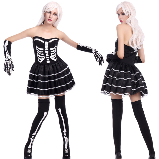 f94755fbdc8fe Adult Women Halloween Scary Skeleton Costume Party Tube Dress Joker Game  Black Outfit Socks Sexy Horror Death Outfit For Girl XL