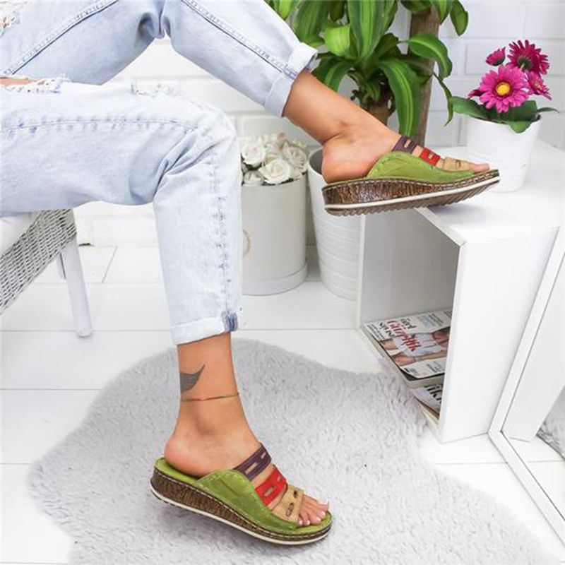 HEFLASHOR Summer  Slippers Women Beach Slip On Slides Female Rome Retro Casual Shoes Thick Bottom Wedge Open Toe Sandals 5