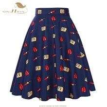 2017 New Fashion Black Skirt Women High Waist Plus Size Floral Print Polka Dot Ladies Summer