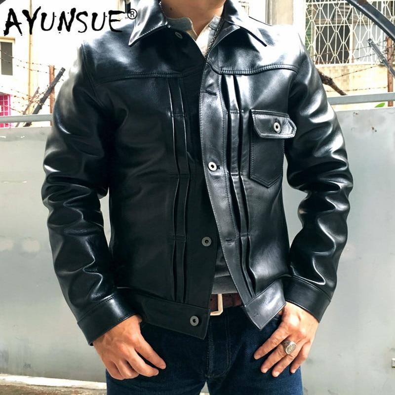 AYUNSUE Men's Genuine Leather Jacket Spring Autumn Jacket Men Horsehide Jackets Short Coat Blouson Cuir Homme YY324