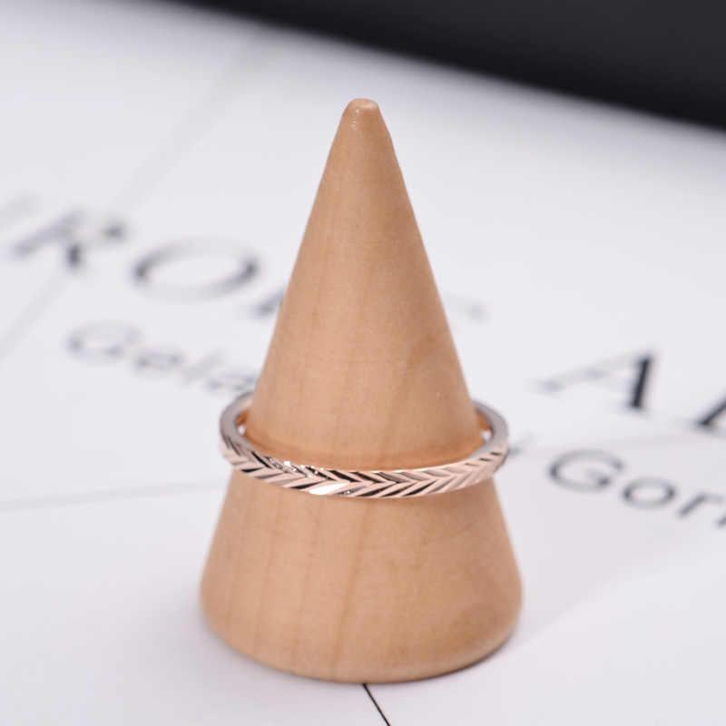خاتم على شكل ذيل لون ذهبي وردي مبسط عصري من YUN RUO هدية عيد الميلاد للنساء مجوهرات عصرية من الفولاذ والتيتانيوم لا تتلاشى أبدًا 2020