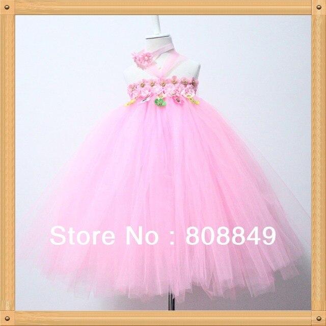 Envío gratis largo rosado tutus vestido tutu dress flowers de san ...
