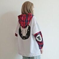 Japanese Cute Street Fashion Women Sweatshirt Harajuku Kawaii Cat Print Plaid Hoodies Black Tracksuit Pullover Female Sweatshirt