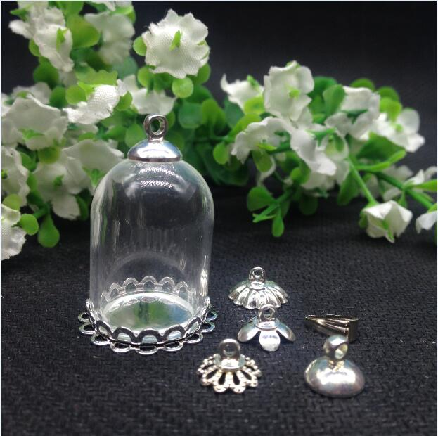 50sets 25 18mm wide mouth tube glass globe with silver plated double lace base tray beads