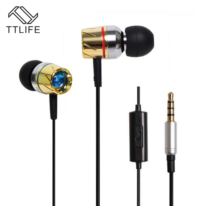 TTLIFE Metal Wired Earphones Sport Headset Music Stereo In-ear Original Subwoofer Headset With Mic for Android Phone Xiaomi Pc
