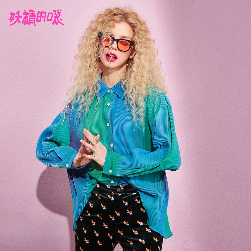 ELF SACK 2019 New Stylish Woman Shirts Color Patchwork Casual Women Blouse Full Turn down Collar
