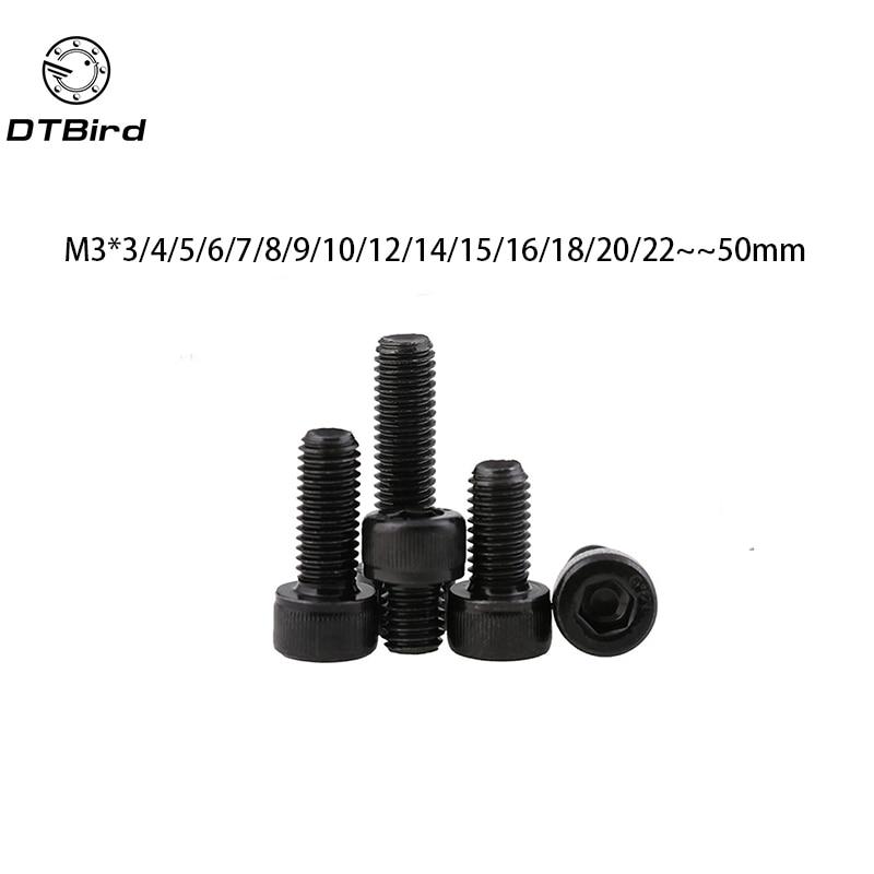 Metric Thread DIN912 M3 Black Grade 12.9 Alloy Steel Hex Socket Head Cap Screw Bolts M3*(3/4/5/6/7/8/9/10/12/14/15~50) mm 100pcs lot metric thread din912 m3x8 mm m3 8 mm black grade 12 9 alloy steel hex socket head cap screw bolts