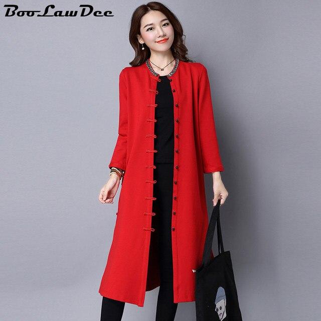 BooLawDee Осень старинные Китайский стиль средней длины верхней одежды плюс размер кнопки пластины национальной пальто черный красный Sml XL 1I224