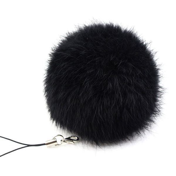 Llavero con bola de piel de conejo, llavero con cadenas, para bolso, Navidad