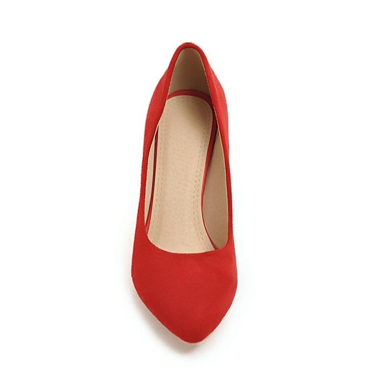 Pqecfs Nouvelles Femmes 4 Spéciale De Wedge Couleurs Haute Offre Grande red Black apricot gray Solide Pompes Qualité 2019 Taille Mode 33 43 zW0zaqvr