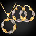 Hoop Earrings Pendant Necklace Set Gold Plated 2 Tone Plated Jewelry Set Fashion Jewelry For Women PE990