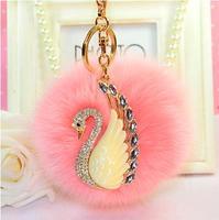 Fashion Jewelry 8cm Fox Hair Ball Crystal Swan Key Chains Key Chain Keychain For Women Bag